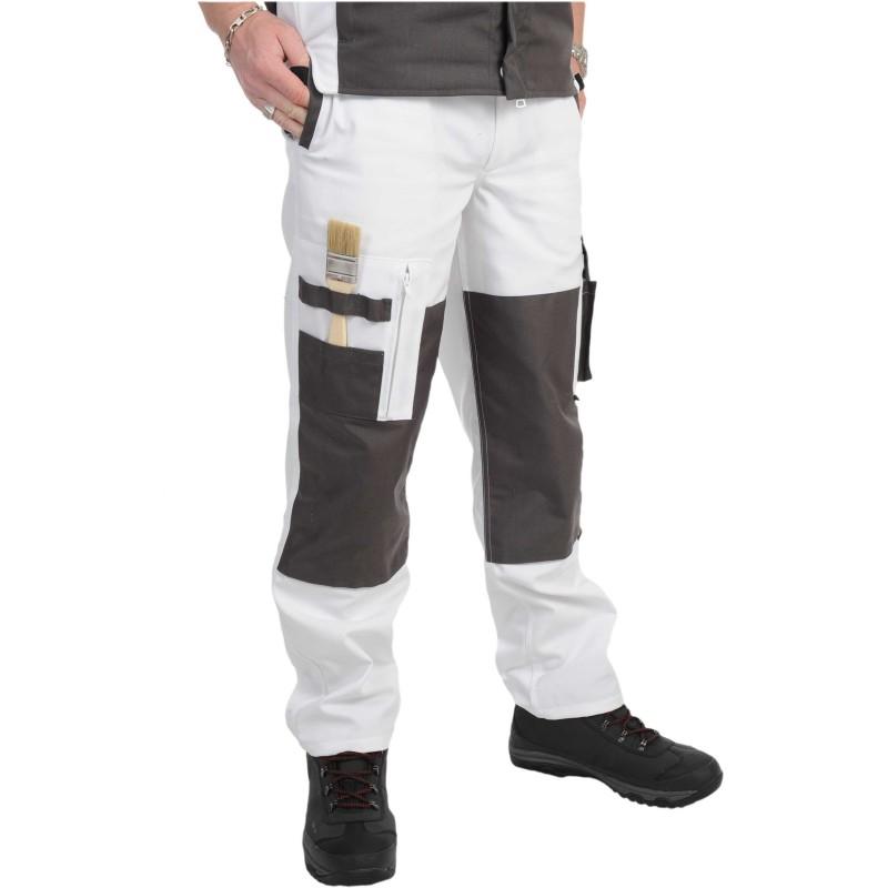 pantalon de travail pesaro blanc et noir kiplay v t pro equipement. Black Bedroom Furniture Sets. Home Design Ideas